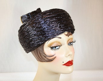 Vintage Navy Blue Straw Pillbox Hat from the Cain Sloan Co Nashville Perfect for any occasion Church Hat