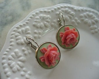 Pink Rose, Mint Green Cameo, Floral Earrings, Flower Earring, Floral Jewelry, Leverback French Earwires, Vintage Style, Cabbage Rose Flower