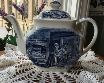 J G Meakin Teapot  Liberty Blue  Minutemen English  Transferware  Blue Transferware  Staffordshire  Teapot