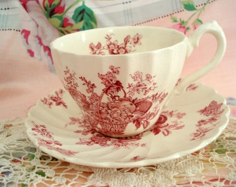 Vintage Red Transferware Teacup Myott England Bountiful Staffordshire Ware Tea Cup and Saucer Replacement China