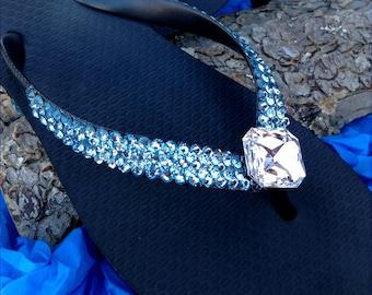 Custom Crystal Flip Flop w/ Swarovski Jewel 3D Ice Cap Aquamarine & Clear Havaianas Flat or Cariris Wedge Heel Blue Beach Bride Wedding Shoe