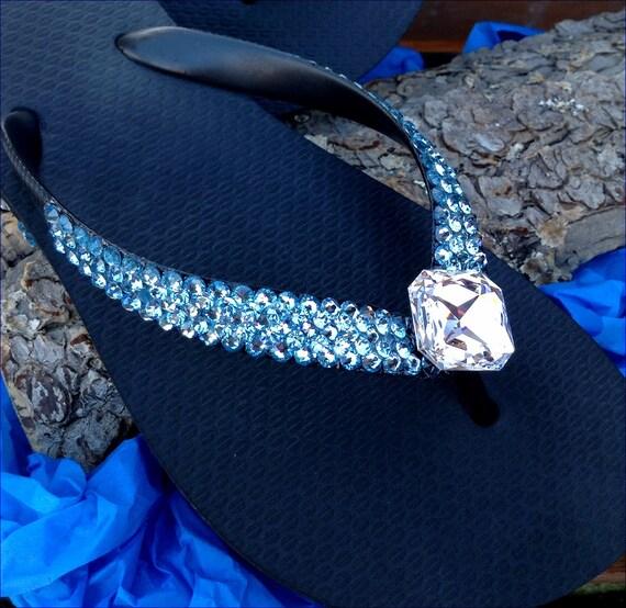 Swarovski Crystal Flip Flops Ice Cap 3D Aquamarine Clear Multi Stacked Havaianas Flat or Cariris Wedge Heel Mono Beach Bridal Wedding Shoes