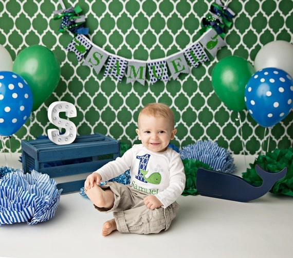 WHALE BANNER / 1st Birthday Boy / Whale Baby Shower Banner