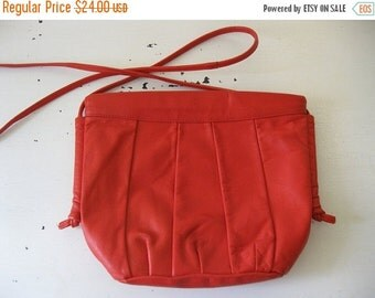 ON SALE vintage. PURSE. cross body. Leather. bright. Red. 1980s. long strap.