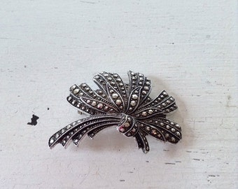 ON SALE vintage. BROOCH. faux marcasite. Eloxal. silver tone. 1950s.