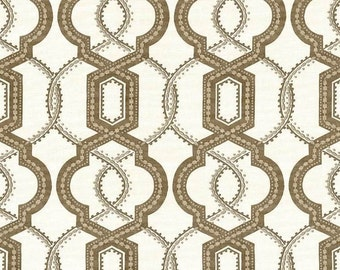 ON SALE - Taupe Trellis Upholstery Fabric