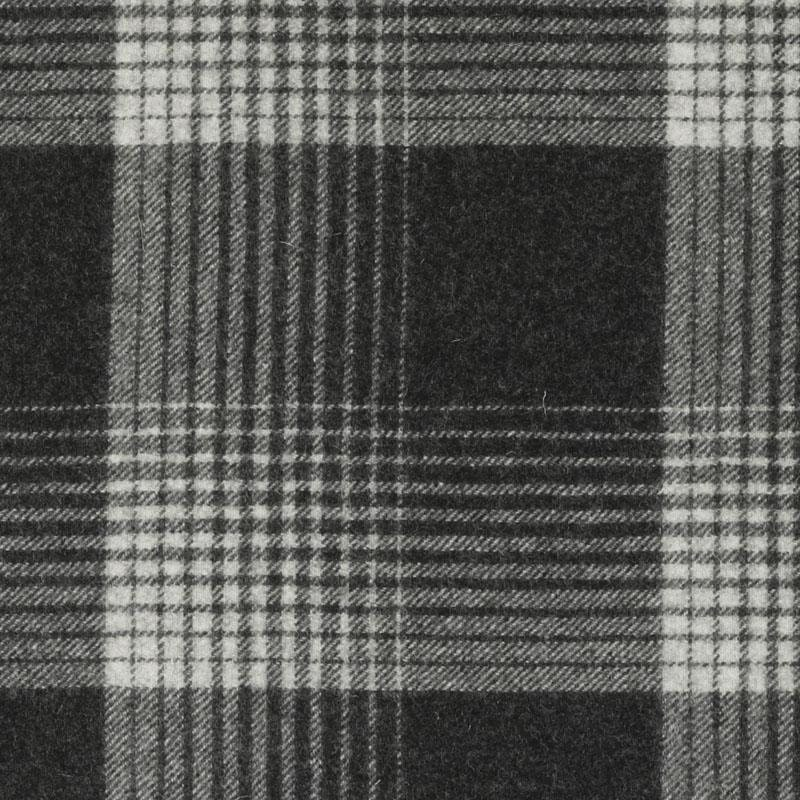 Dark Grey Wool Plaid Upholstery Fabric Black Ivory Large