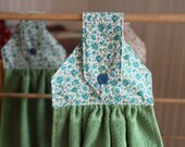 Country Calico Green Hanging Dish Towel