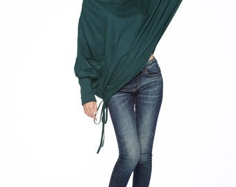 NO.59 Deep Teal Cotton Jersey Batwing Tunic Loose Asymmetrical  Sweater