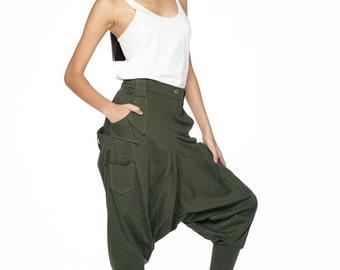 NO.95 Dark Olive Cotton Jersey Casual Harem Pants, Unique Pockets Drop-Crotch Trousers, Unisex Pants