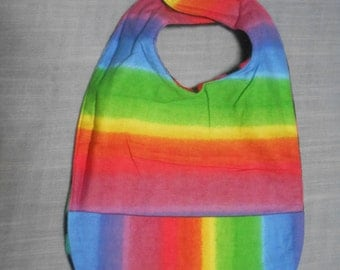 Rainbow colored SMALL REVERSIBLE BIBS with Pocket.