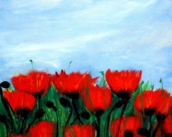 Poppies in a Field Original Oil Painting 8 x 10""