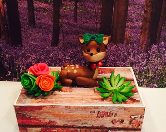 Polymer clay woodland cake topper,Fawn cake topper,birthday party,cake topper,children's party,squirrels, woodland animals