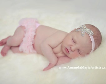 newborn bloomers bow crown headband and diaper cover ruffle tutu bloomers in light pink with AB crystals newborn set, cake smash set