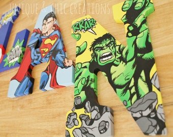 Super Hero Themed Hand Painted Personalized Wooden Letters for Nursery, Bedroom, or Party