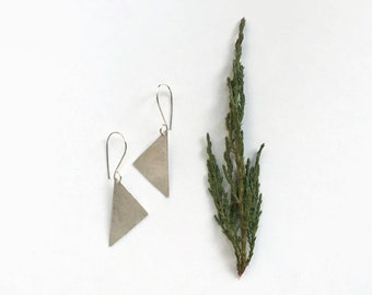 hammered sterling silver earrings // geometric triangle jewelry