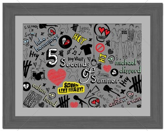 5SOS - 5 Seconds Of Summer - Michael Clifford, Luke Hemmings, Ashton Irwin, Calum Hood - Graffiti Style - Limited Edition A3 Print Of 100