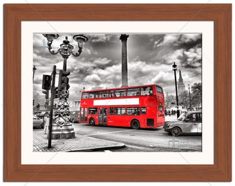 London Red City Bus Colour Splash Cityscape Photographic Print - Various Sizes - Gift Idea
