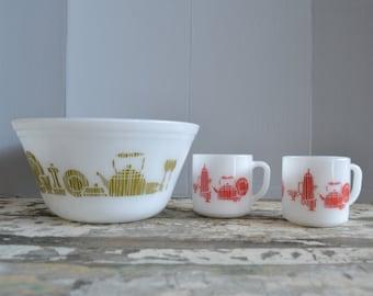 Federal Kitchen Bowl &  Mug Set of 3 ~ Red Federal Mugs ~ Green Federal Bowl ~ Milk Glass Mug Bowl ~ Kitsch ~ Epsteam