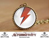 David Bowie necklace, David Bowie pendant, Ziggy Stardust, Ziggy lightning bolt (75)