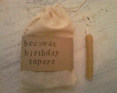 Handrolled beeswax birthday tapers