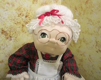 Vintage Handmade Mrs. Claus Cloth Doll