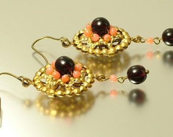 Vintage/ estate 1990s Victorian style reproduction, salmon coral & dark red garnet gemstone drop earrings - jewelry / jewellery