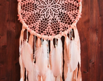 Dream Catcher - Magic Morning - With Handmade Crochet Web, Peach Fabrics and Light Rose Feathers - Home Decor, Nursery Mobile