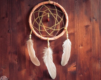 Dream Catcher - Magical Wish - With Small Gemstone, Natural White Web, Rose Feathers and Orange Frame - Boho Home Decor, Nursery Mobile