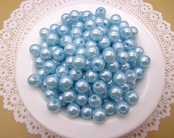 SALE--100pc 8mm Faux Pearl Beads,Sky Blue Plastic Beads