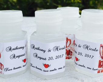 120 RED HEART LOVE theme Personalized Mini Bubble labels/stickers for Wedding/Anniversary party or event. Make your own cute favors!