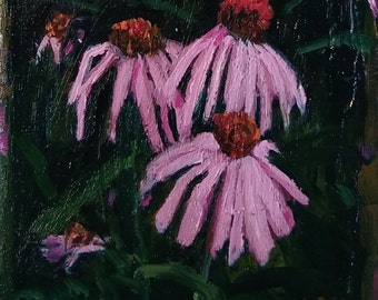 "Purple Pink Coneflower Cone Flower 4""x4"" Small, ORIGINAL, expressive oil painting by Maine artist Adrienne Kernan LaVallee, impasto"