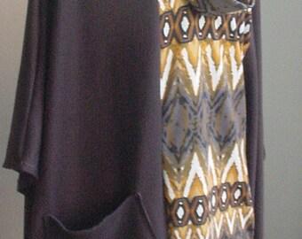 ON SALE-15% OFF- New Woman's Plus Designer Poncho colorblock chocolate brown beige Ponte Knit -1Sz