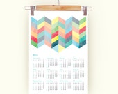 2016 Calendar chevron pattern retro Poster Print Calendar in pastel colors with chevron A3 size 2016 Calendar chevron pattern 2016 calendar