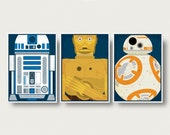 Star Wars Droids Posters trio R2D2 3CPO BB8 robots Star Wars posters movie sci fi art Return of the Jedi Star Wars The force awakens poster