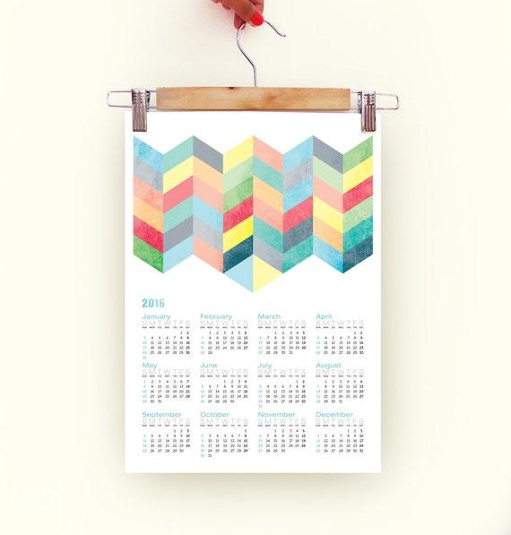 2016 Calendar chevron pattern retro Poster Print Calendar in pastel colors with chevron A3 size 2016 Calendar chevron pattern 2016 calendar