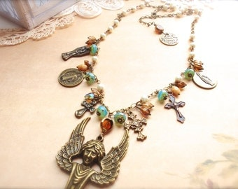 Vintage Assemblage Necklace, Religious Jewelry, Christain Jewelry, Boho, OOAK, Vintage Jewelry *AVAMARIA*