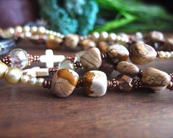 SALE, Picture Jasper, Western Jewelry, Christian Jewelry, Triple Strand Necklace, Cowgirl Bling *JASLYN*
