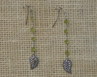 Peridot Leaf Earrings