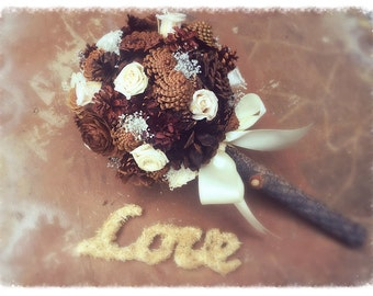 Alternative Bridal Bouquet - Rustic Wedding Bouquet - Pine Cone Bridal Bouquet - Winter Bridal Bouquet - Fall Bridal Bouquet