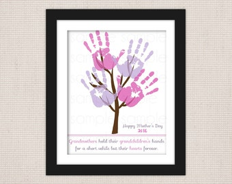 DIY Grandmother Mother's Day Handprint Tree Keepsake Art Print Printable PDF // 2 Sizes