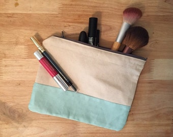 Medium Sized Two Tone Cosmetic Bag - Makeup Bag - Zipper Pouch