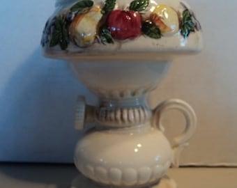 Vintage porcelain ceramic lamp lantern harvest fruits vegetables planter catchall