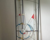 Vintage faux stained glass door insert, large glass wall hanging