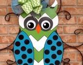 Ready To Ship Hoot Owl Door Hanger Summer Door Hanger Front Door Hanger Spring Decor