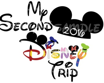 My Second Disney Trip 2016 Mickey Fab Five Minnie Goofy Donald Daisy Pluto Custom DIY Printable Iron On Transfer Disney