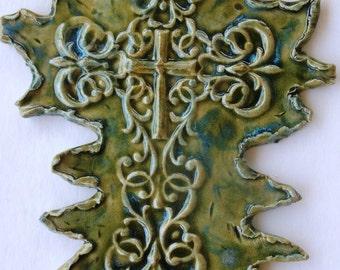 Green Blue Cross Multi Glazed Large Wall One Sale