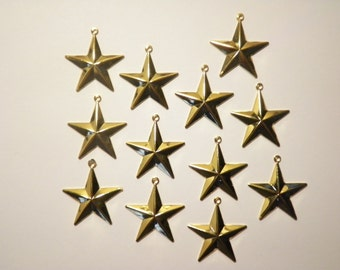 12 Goldplated Military Style Stars with Loop