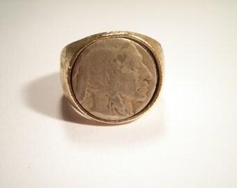1 Goldplated Indian Head Buffalo Nickel Ring