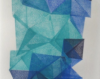 Crystals from the deep woods VI., original abstract geo linocut print, tribal art